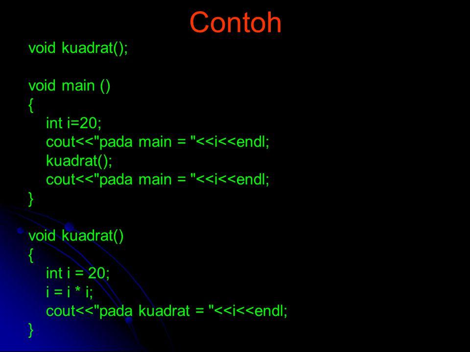 Contoh void kuadrat(); void main () { int i=20;