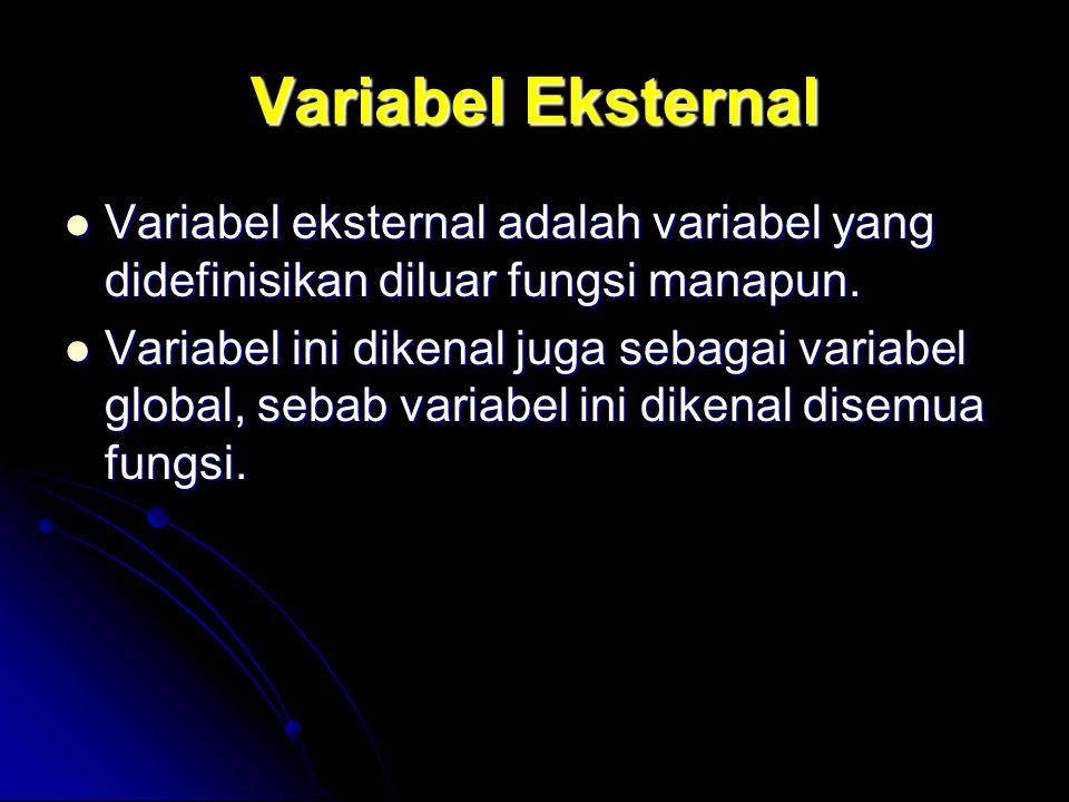 Variabel Eksternal Variabel eksternal adalah variabel yang didefinisikan diluar fungsi manapun.
