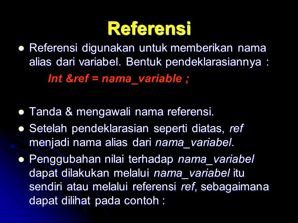 Referensi Referensi digunakan untuk memberikan nama alias dari variabel. Bentuk pendeklarasiannya :