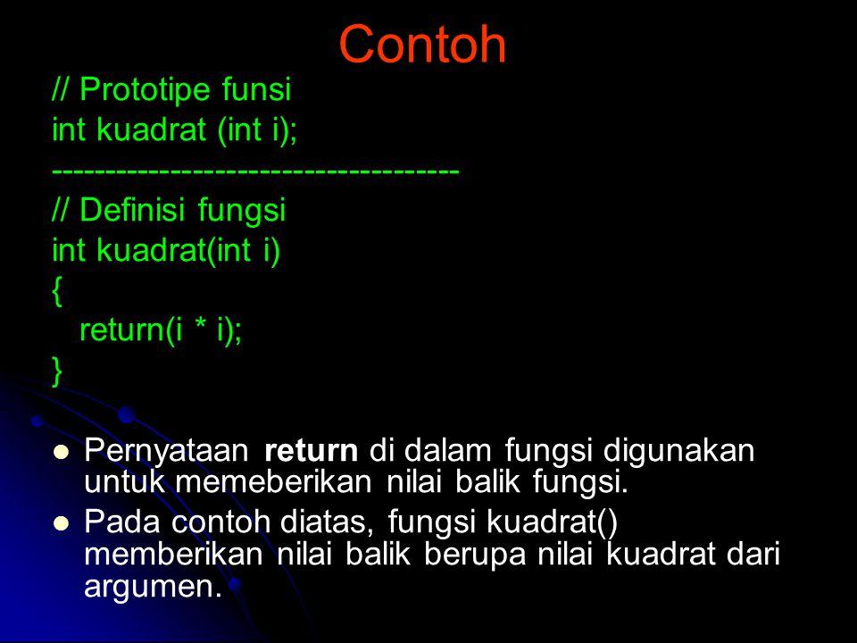 Contoh // Prototipe funsi int kuadrat (int i);
