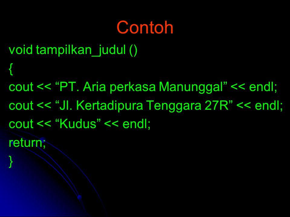 Contoh void tampilkan_judul () {