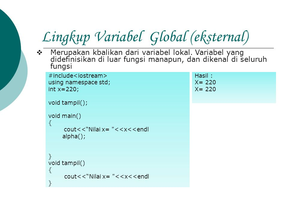 Lingkup Variabel Global (eksternal)