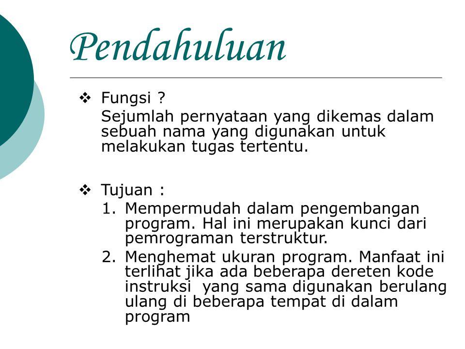 Pendahuluan Fungsi Sejumlah pernyataan yang dikemas dalam sebuah nama yang digunakan untuk melakukan tugas tertentu.