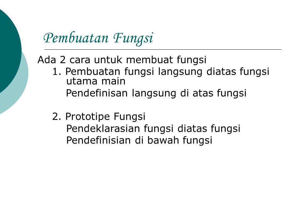 Pembuatan Fungsi Ada 2 cara untuk membuat fungsi