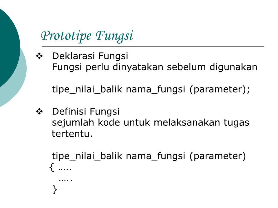 Prototipe Fungsi Deklarasi Fungsi