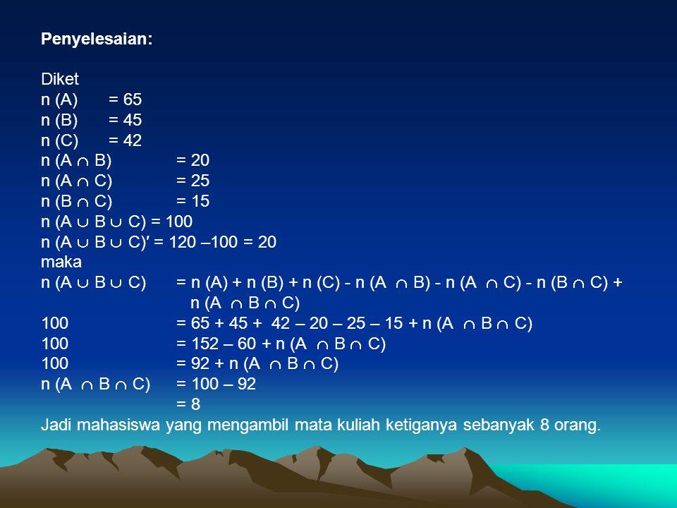 Penyelesaian: Diket. n (A) = 65. n (B) = 45. n (C) = 42. n (A  B) = 20. n (A  C) = 25. n (B  C) = 15.