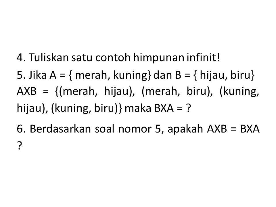 4. Tuliskan satu contoh himpunan infinit. 5