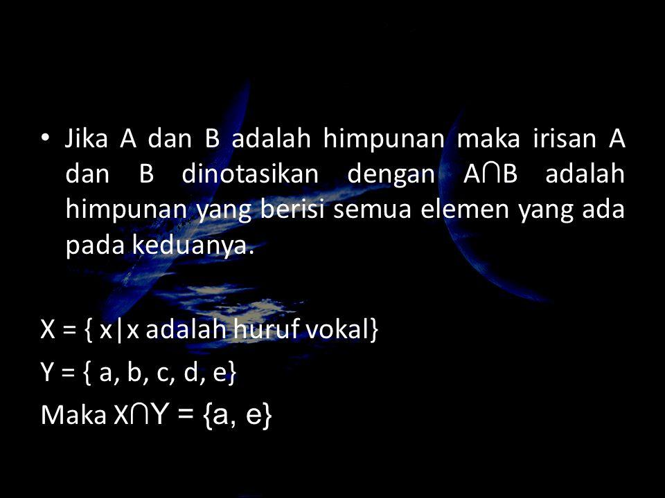 Jika A dan B adalah himpunan maka irisan A dan B dinotasikan dengan A∩B adalah himpunan yang berisi semua elemen yang ada pada keduanya.