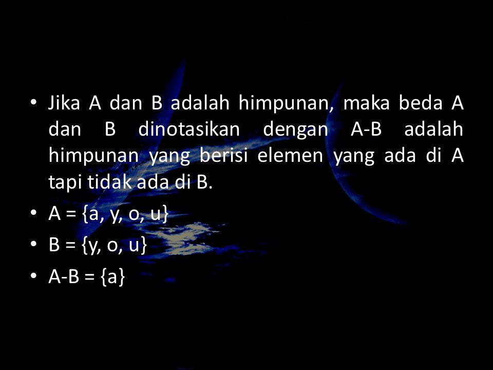 Jika A dan B adalah himpunan, maka beda A dan B dinotasikan dengan A-B adalah himpunan yang berisi elemen yang ada di A tapi tidak ada di B.