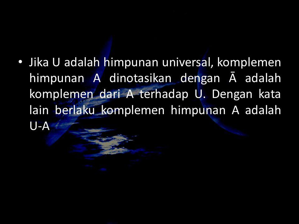 Jika U adalah himpunan universal, komplemen himpunan A dinotasikan dengan Ā adalah komplemen dari A terhadap U.
