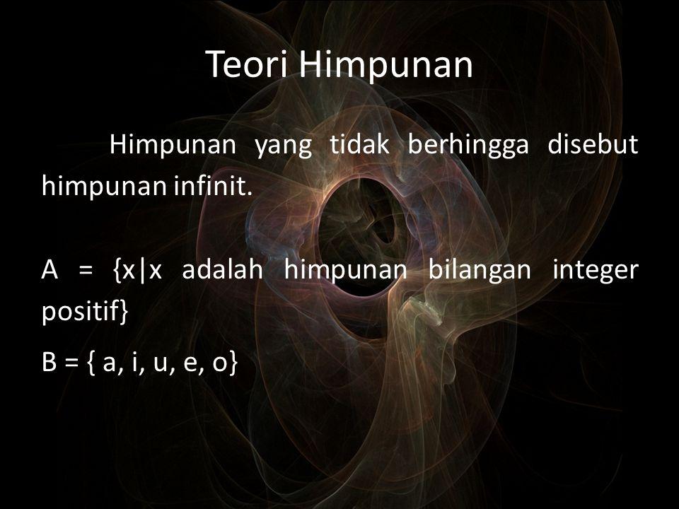 Teori Himpunan Himpunan yang tidak berhingga disebut himpunan infinit.