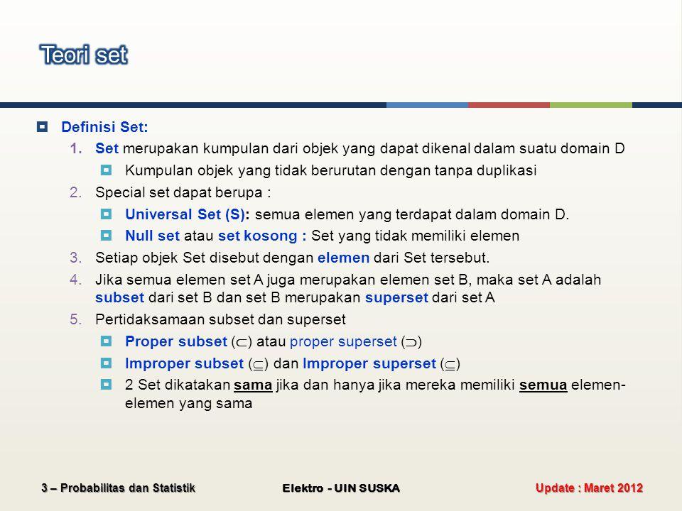 Teori set Definisi Set: