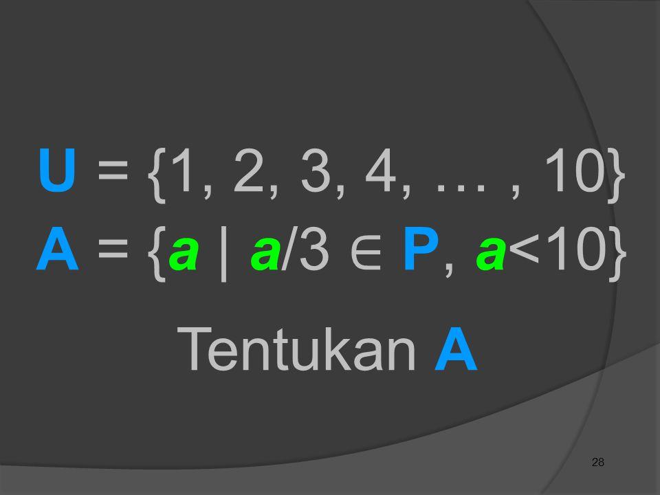 U = {1, 2, 3, 4, … , 10} A = {a | a/3 ∈ P, a<10} Tentukan A 28