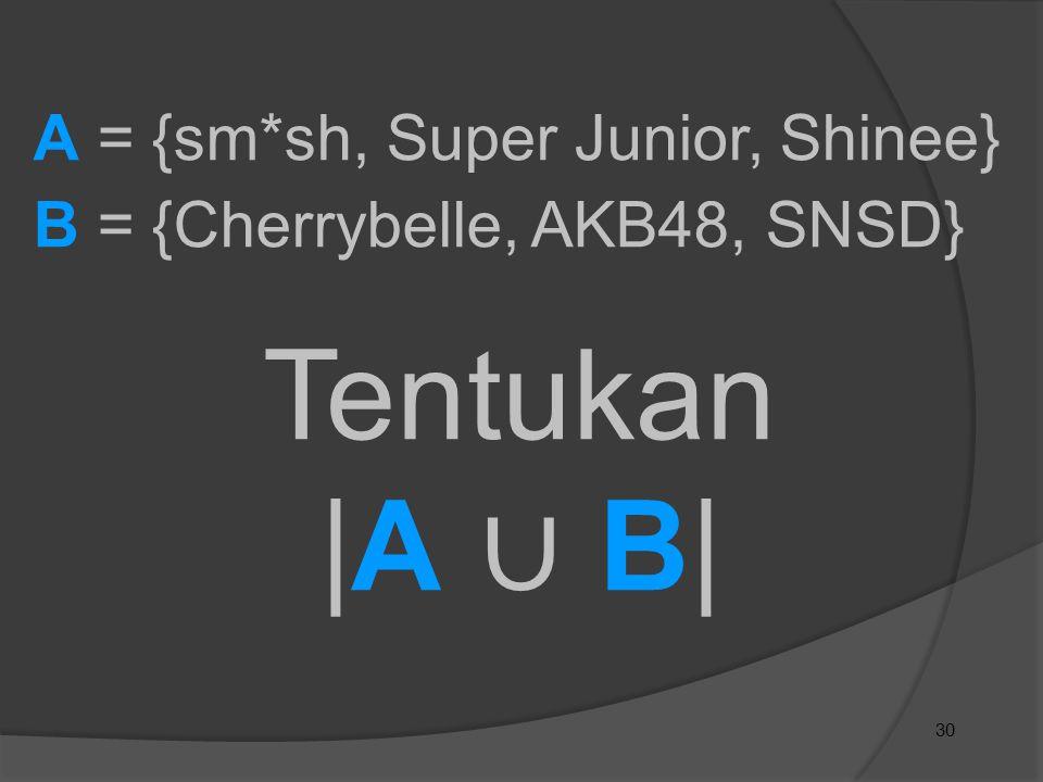 Tentukan |A ∪ B| A = {sm*sh, Super Junior, Shinee}
