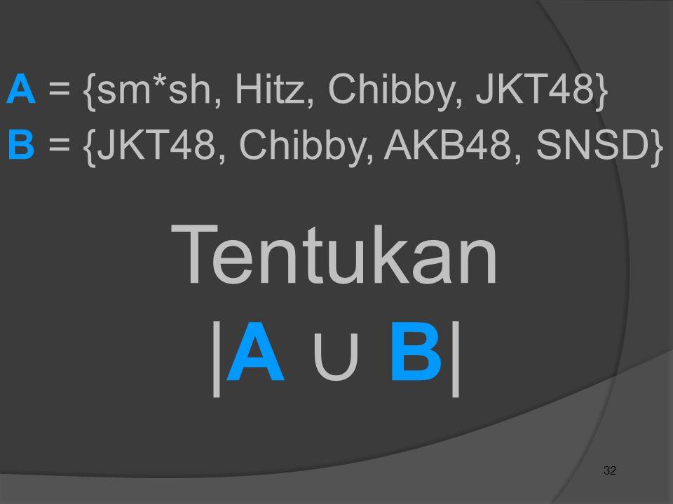Tentukan |A ∪ B| A = {sm*sh, Hitz, Chibby, JKT48}