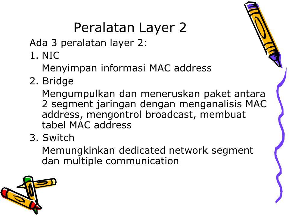 Peralatan Layer 2 Ada 3 peralatan layer 2: NIC