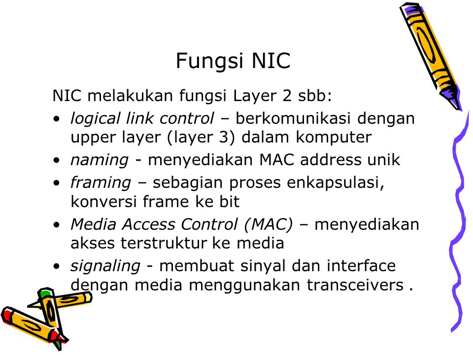 Fungsi NIC NIC melakukan fungsi Layer 2 sbb: