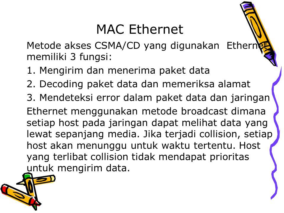 MAC Ethernet Metode akses CSMA/CD yang digunakan Ethernet memiliki 3 fungsi: Mengirim dan menerima paket data.