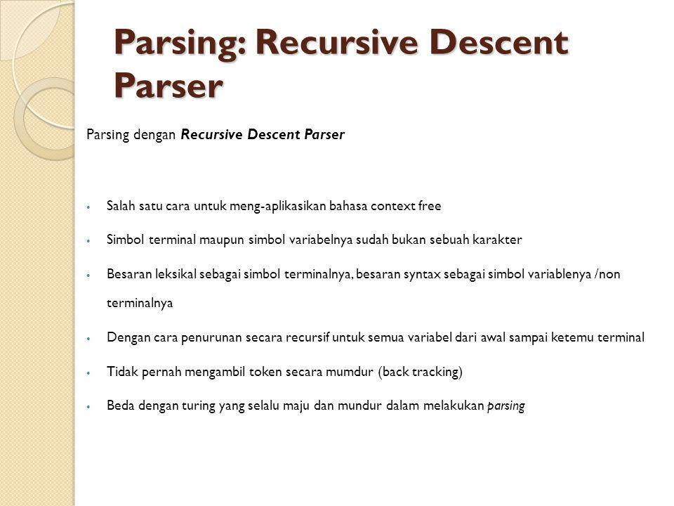 Parsing: Recursive Descent Parser