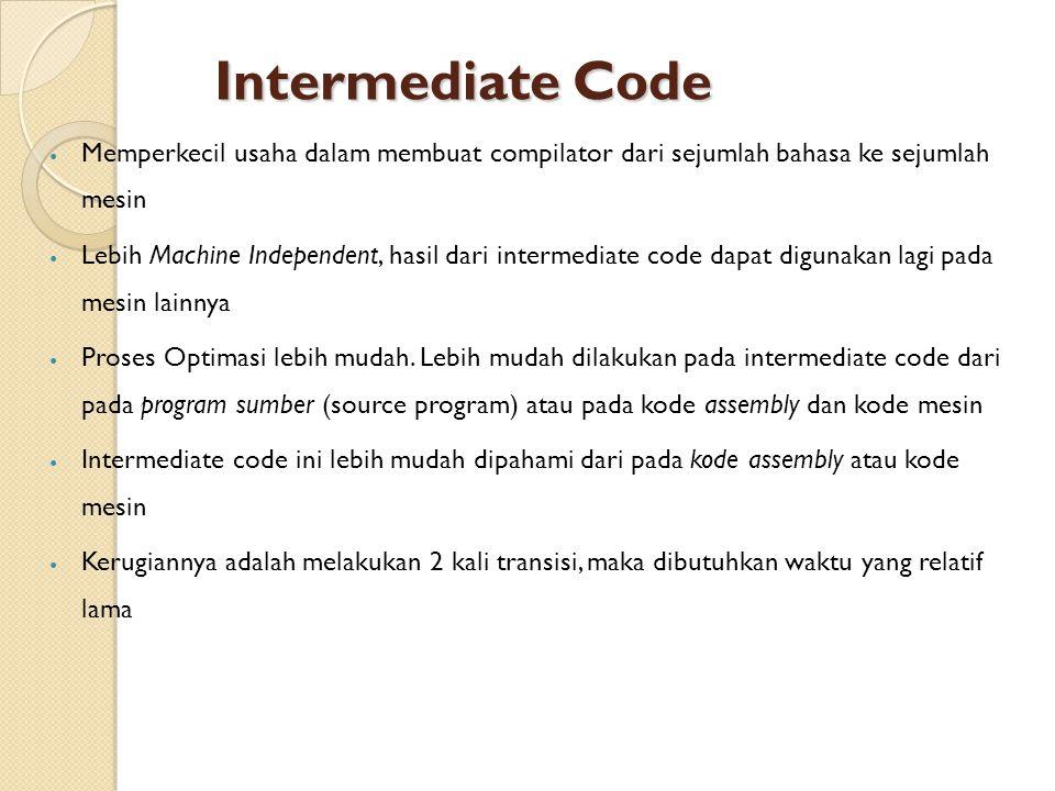 Intermediate Code Memperkecil usaha dalam membuat compilator dari sejumlah bahasa ke sejumlah mesin.
