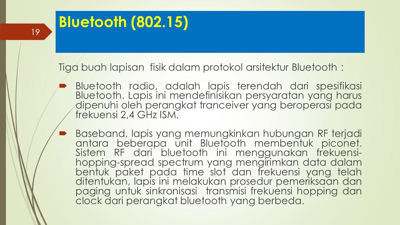 Bluetooth (802.15) Tiga buah lapisan fisik dalam protokol arsitektur Bluetooth :