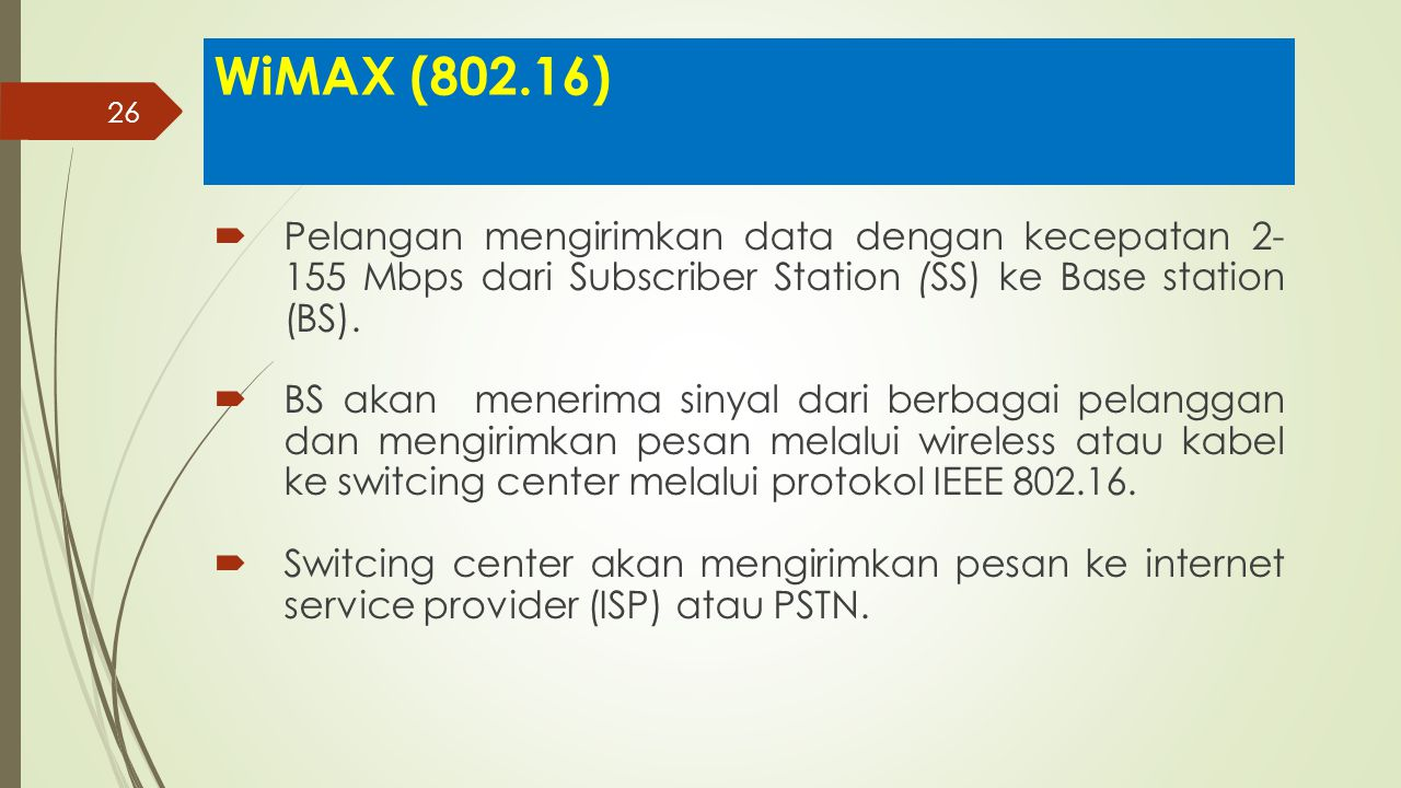 WiMAX (802.16) Pelangan mengirimkan data dengan kecepatan 2- 155 Mbps dari Subscriber Station (SS) ke Base station (BS).