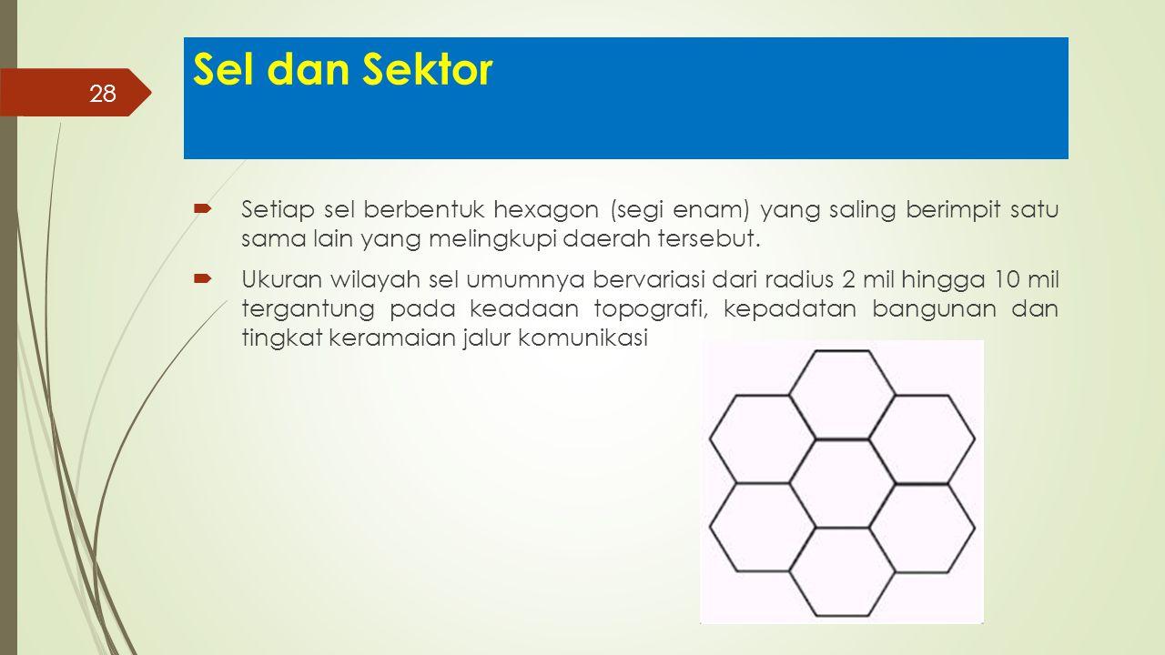 Sel dan Sektor Setiap sel berbentuk hexagon (segi enam) yang saling berimpit satu sama lain yang melingkupi daerah tersebut.
