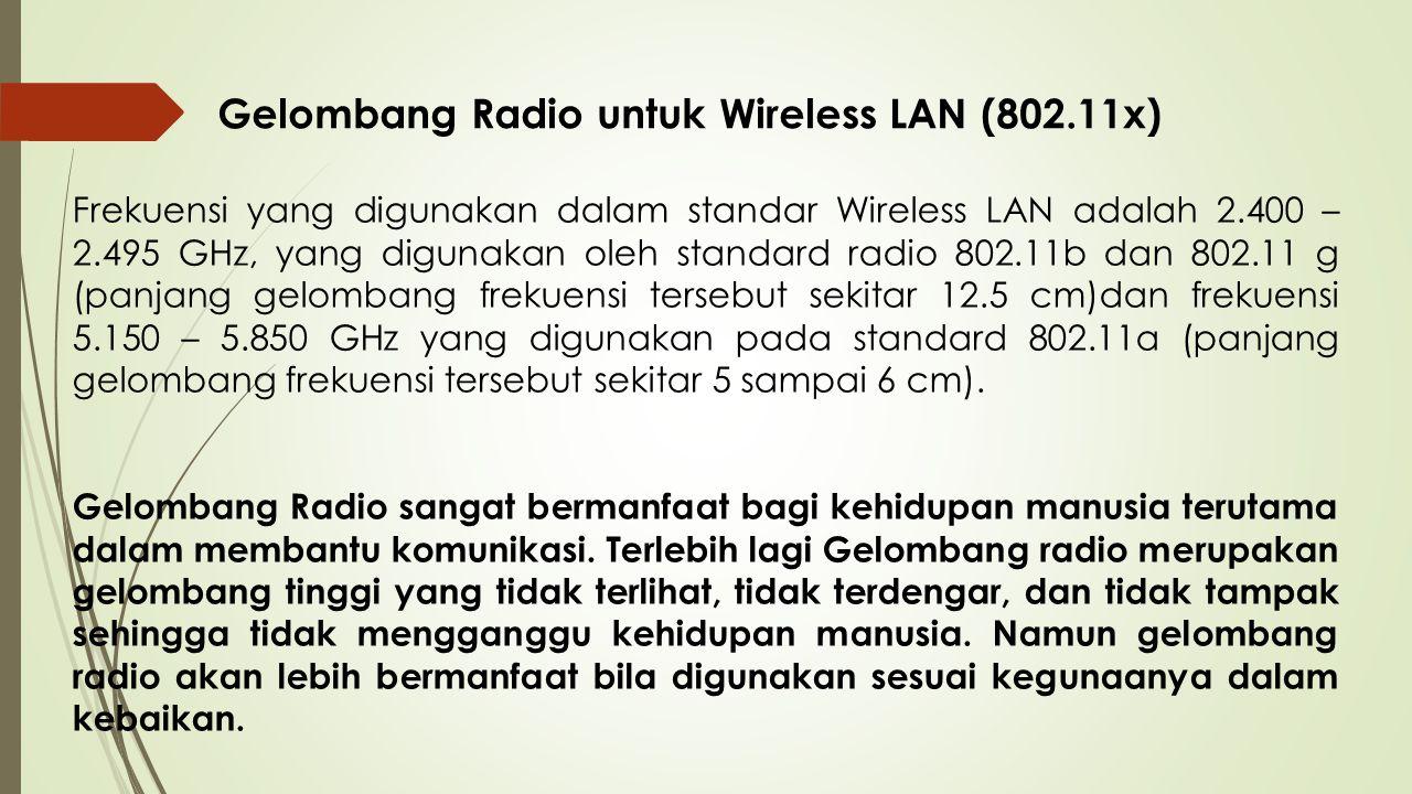 Gelombang Radio untuk Wireless LAN (802.11x)
