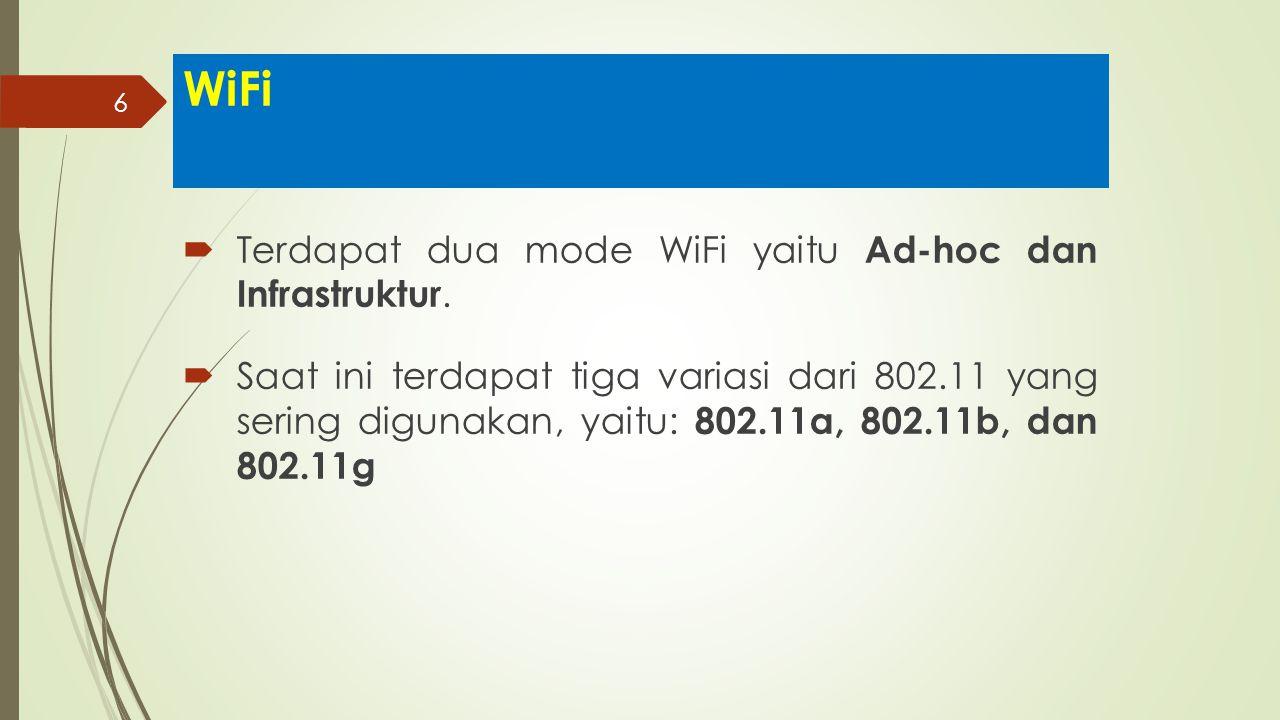 WiFi Terdapat dua mode WiFi yaitu Ad-hoc dan Infrastruktur.