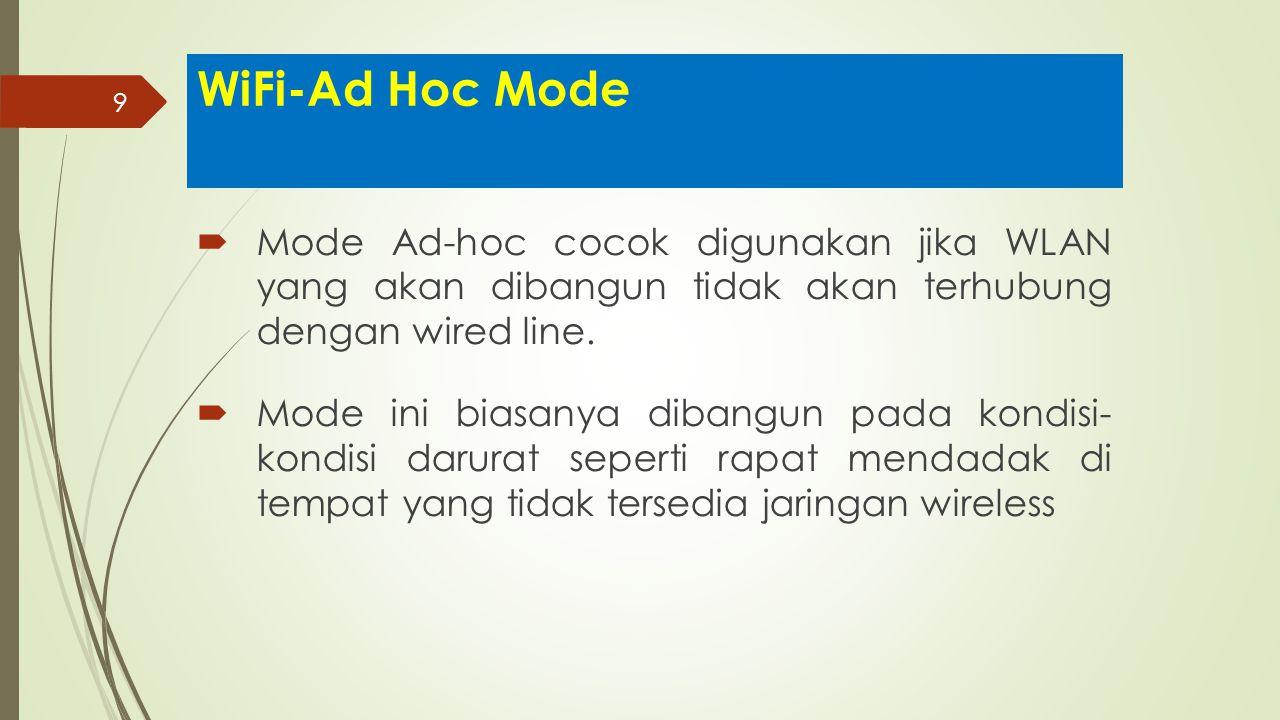 WiFi-Ad Hoc Mode Mode Ad-hoc cocok digunakan jika WLAN yang akan dibangun tidak akan terhubung dengan wired line.
