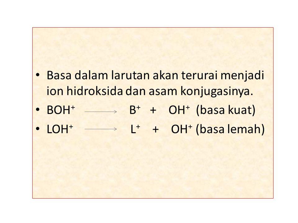 Basa dalam larutan akan terurai menjadi ion hidroksida dan asam konjugasinya.