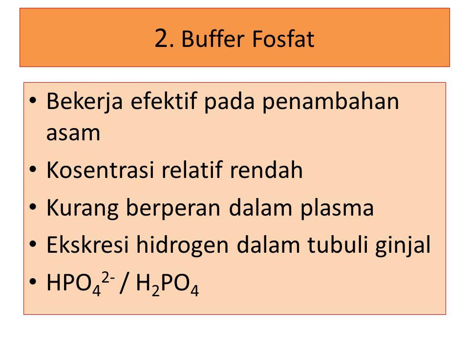 2. Buffer Fosfat Bekerja efektif pada penambahan asam