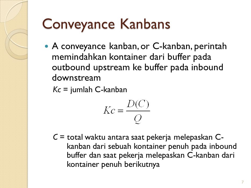 Conveyance Kanbans