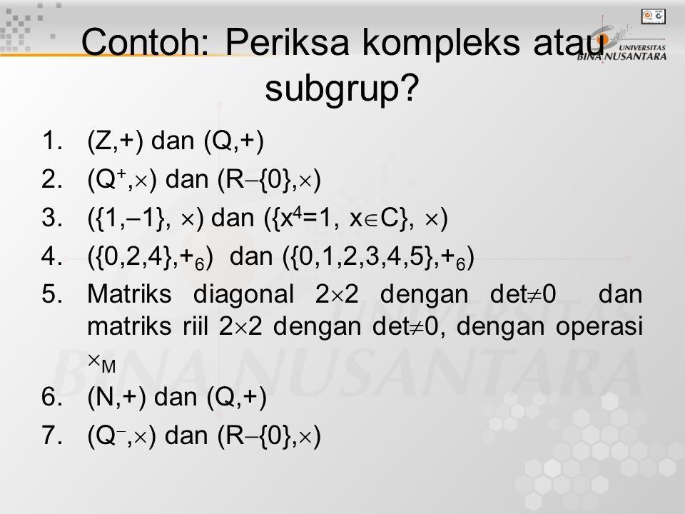 Contoh: Periksa kompleks atau subgrup