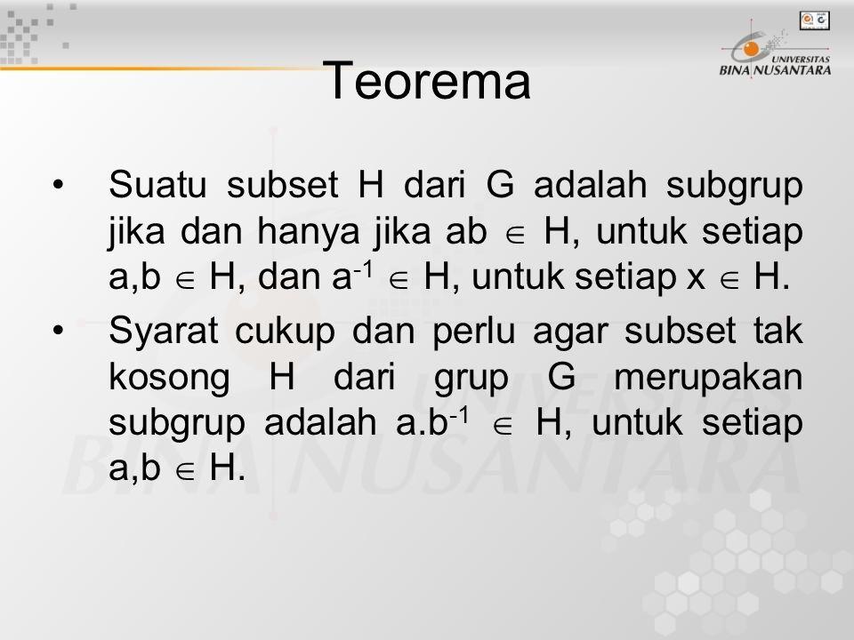 Teorema Suatu subset H dari G adalah subgrup jika dan hanya jika ab  H, untuk setiap a,b  H, dan a-1  H, untuk setiap x  H.