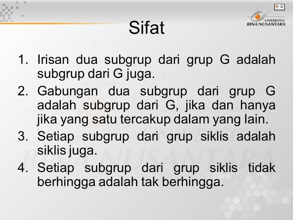 Sifat Irisan dua subgrup dari grup G adalah subgrup dari G juga.
