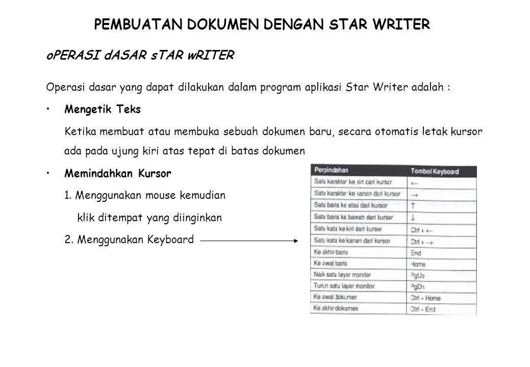 PEMBUATAN DOKUMEN DENGAN STAR WRITER