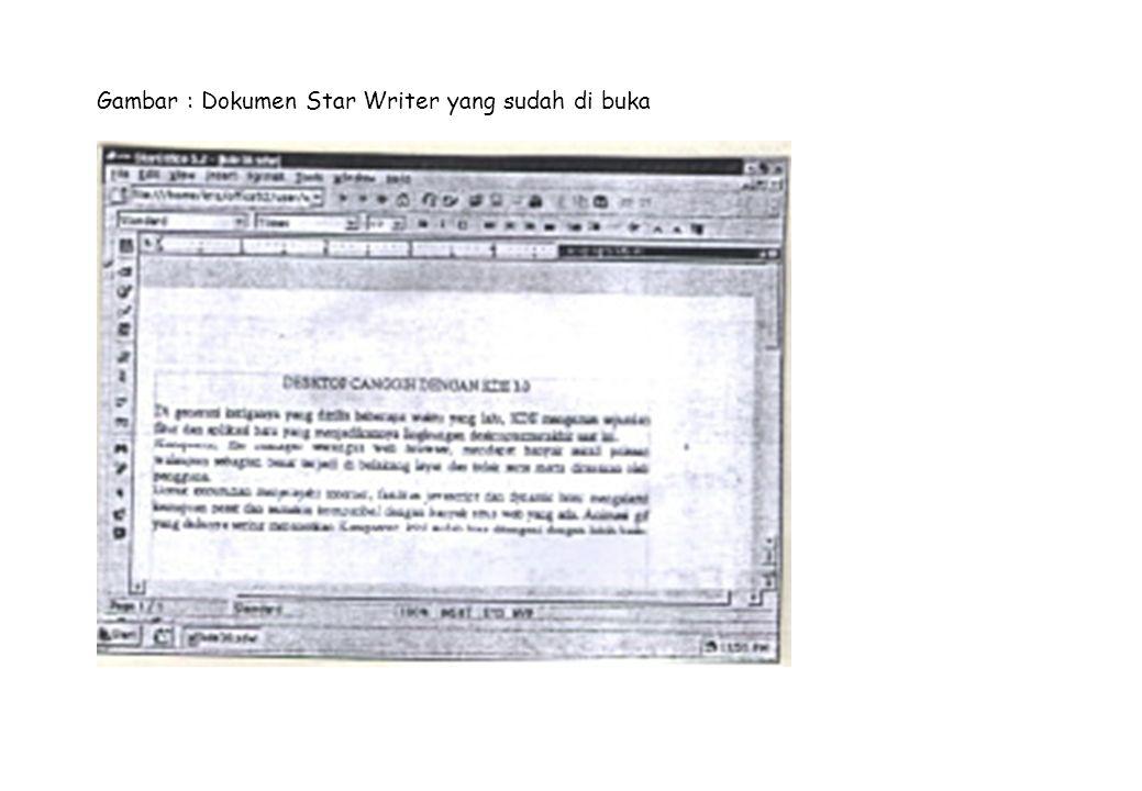 Gambar : Dokumen Star Writer yang sudah di buka