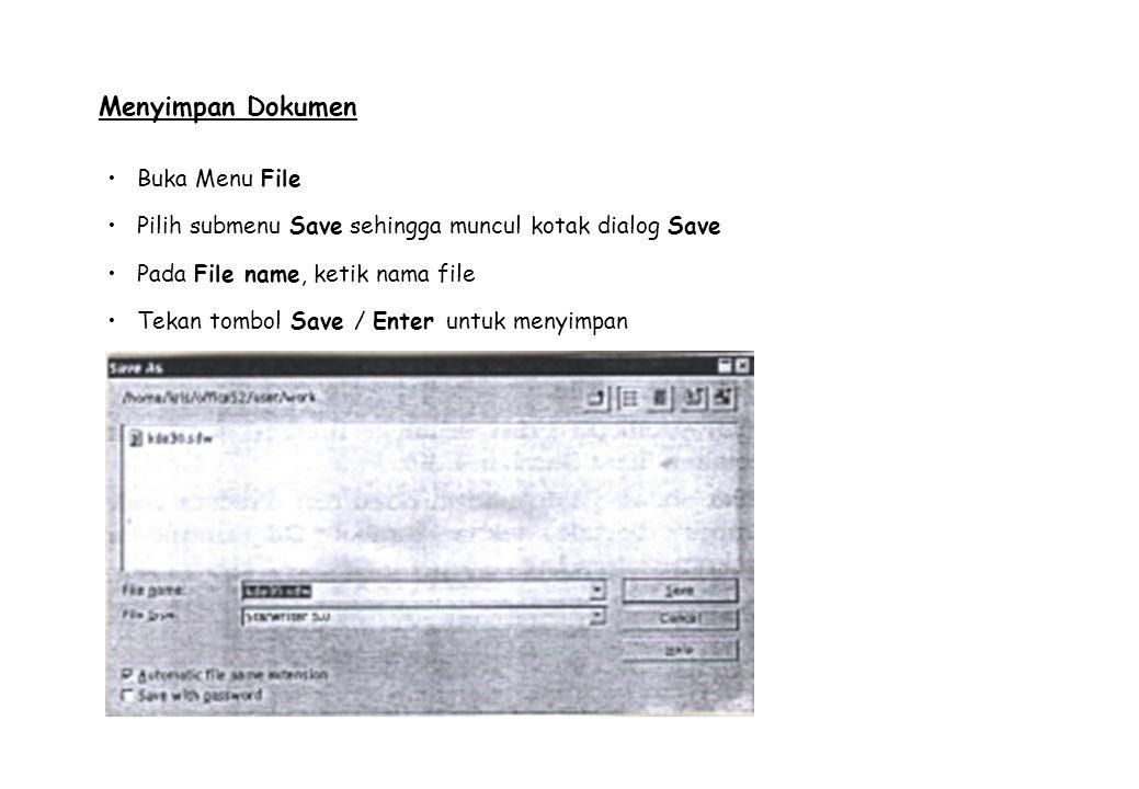 Menyimpan Dokumen Buka Menu File