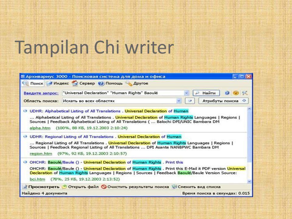 Tampilan Chi writer