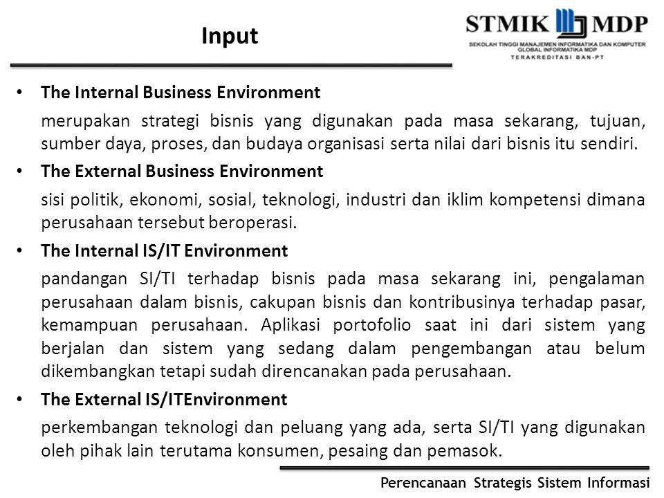 Input The Internal Business Environment