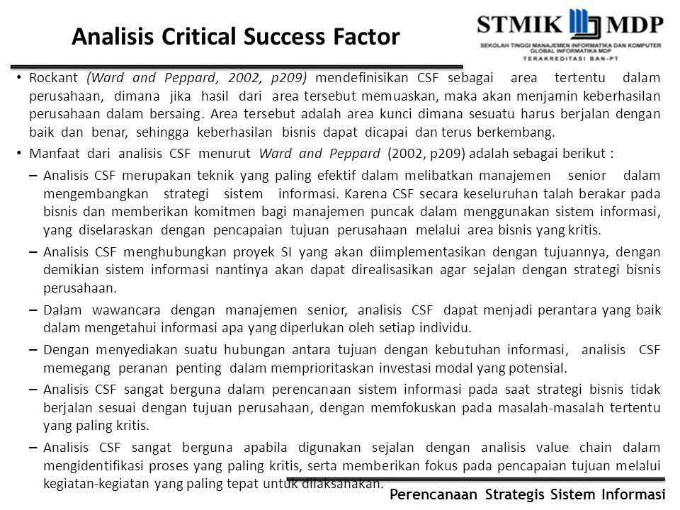 Analisis Critical Success Factor