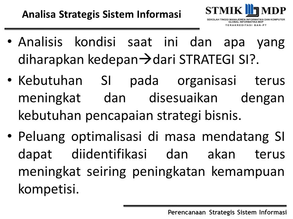 Analisa Strategis Sistem Informasi