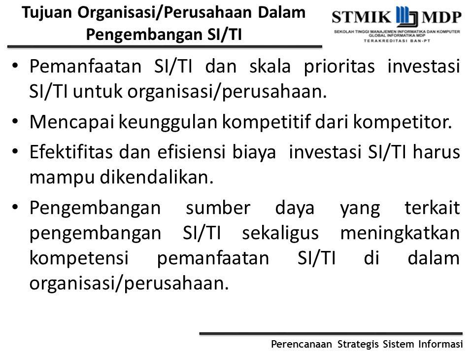 Tujuan Organisasi/Perusahaan Dalam Pengembangan SI/TI