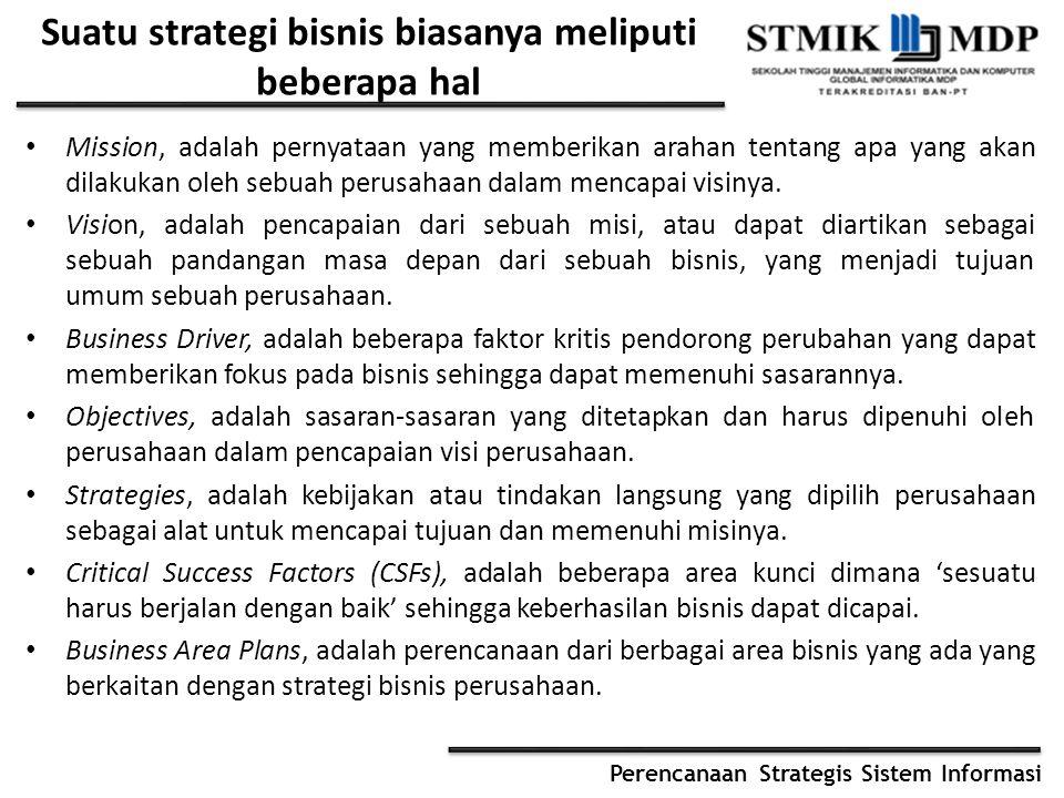 Suatu strategi bisnis biasanya meliputi beberapa hal