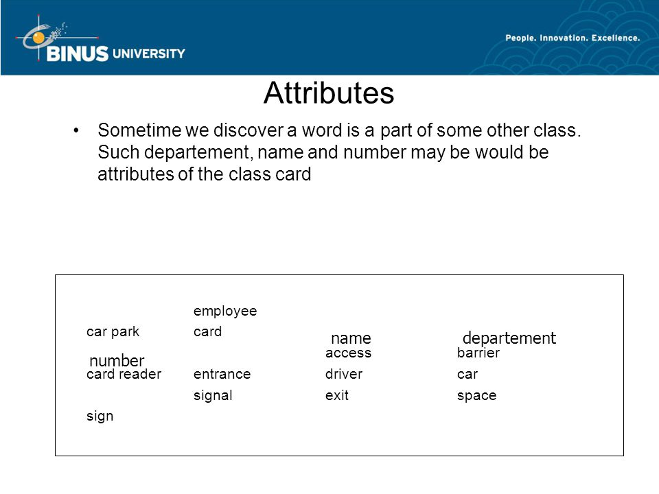 Attributes Sometime we discover a word is a part of some other class. Such departement, name and number may be would be attributes of the class card.