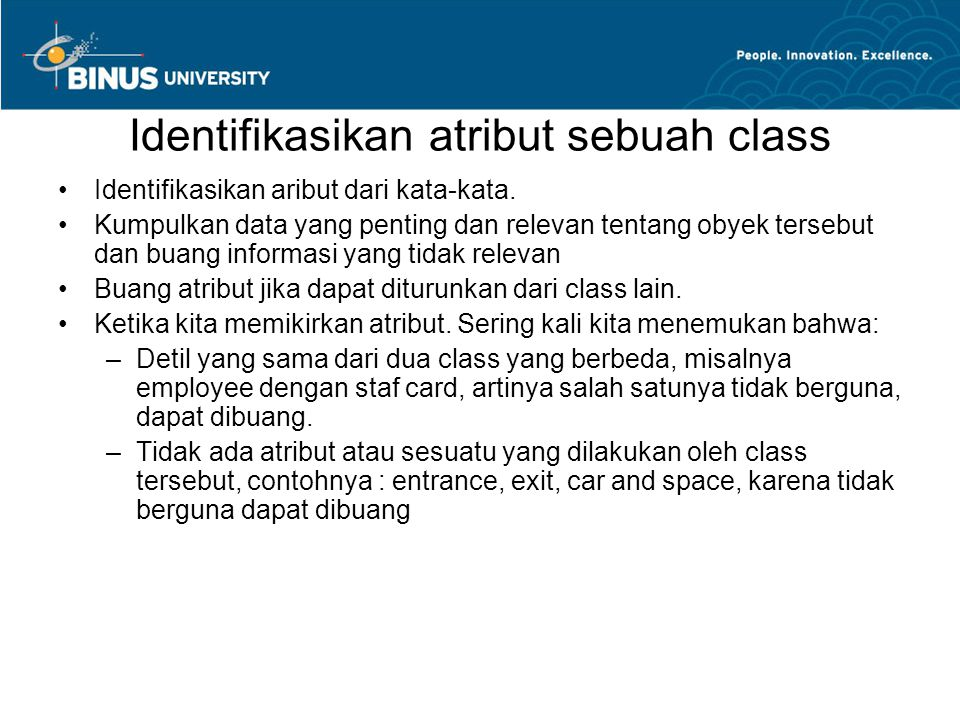 Identifikasikan atribut sebuah class