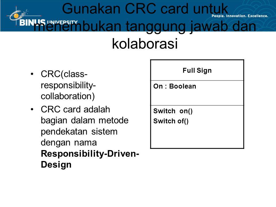Gunakan CRC card untuk menembukan tanggung jawab dan kolaborasi
