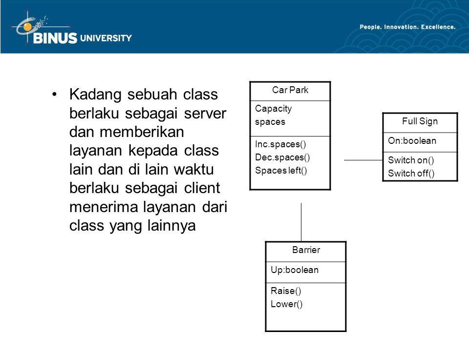 Kadang sebuah class berlaku sebagai server dan memberikan layanan kepada class lain dan di lain waktu berlaku sebagai client menerima layanan dari class yang lainnya