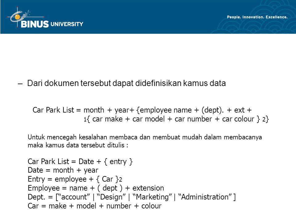 Dari dokumen tersebut dapat didefinisikan kamus data